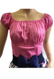 Pink Peasant Top Front View with Belt