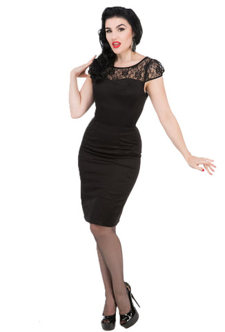 Black Bombshell Wiggle Dress by Hearts & Roses of London Front