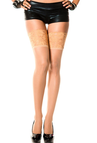 Music Legs Wide Lace Top Thigh High Stockings - Beige