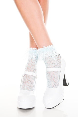 Music Legs Heart Net Design Ankle Hi with Ruffle Trim - Baby Blue