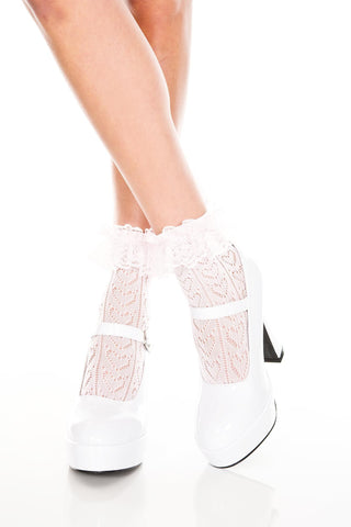 Music Legs Heart Net Design Ankle Hi with Ruffle Trim - Baby Pink