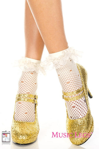 Music Legs Net Pattern Anklet Stockings with Lace Trim