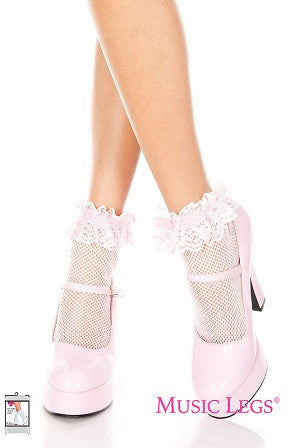 Music Legs Fishnet Ankle Stockings with Lace Trim