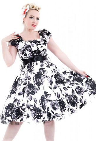 Hearts & Roses Black Rose Dress Close Up View
