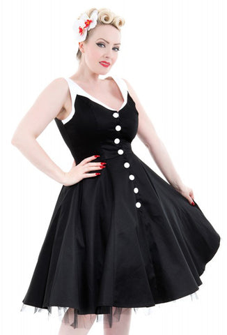 Hearts & Roses Belle Dress - Black Close Up View