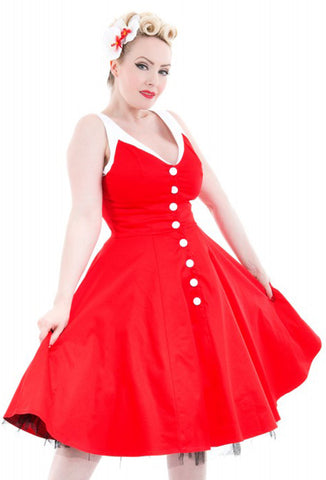 Hearts and Roses Red White Belle Swing Dress