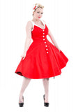 Hearts and Roses Red White Belle Swing Dress Full View