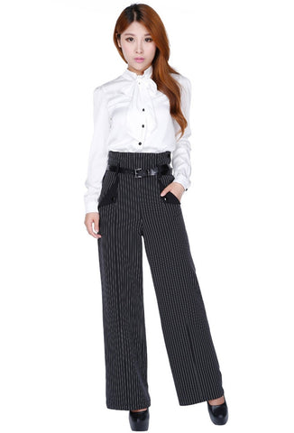 Chic Star High Waist Pinstripe Pants Front View