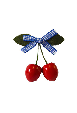Cherry Hair Clip - Blue Gingham