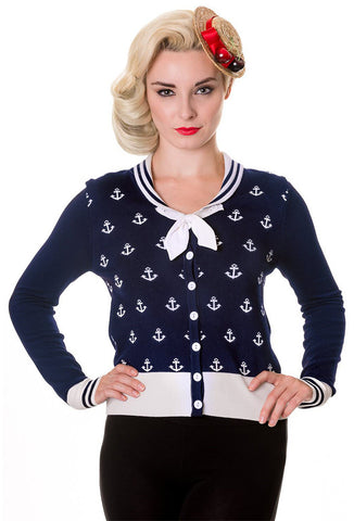 Anchors Cardigan - Navy