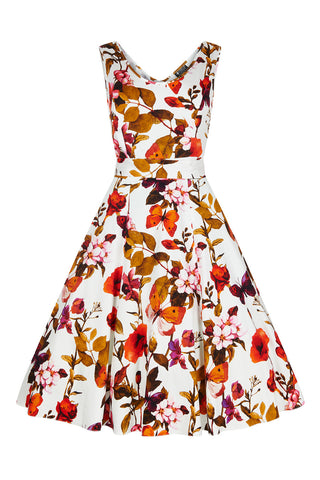 Lady Vintage White Butterfly Floral Charlotte Dress Front View