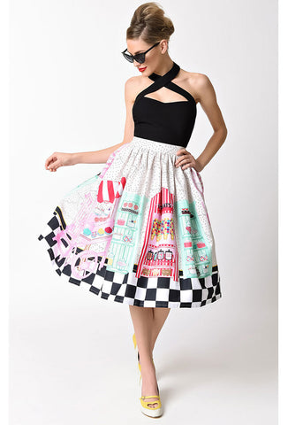 Unique Vintage Candy Shop Skirt Front with Model