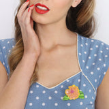 Erstwilder Alohabiscus Brooch on 50s Pinup Model