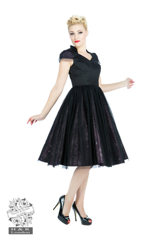 Black & Purple Satin Dress by Hearts & Roses Front View
