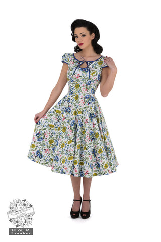 Hearts & Roses London Snow White Floral Day Pinup Dress Front