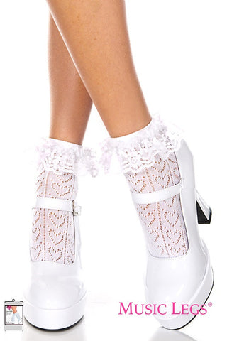 Music Legs Heart Net Design Ankle Hi with Ruffle Trim - White