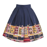 Lindy Bop 'Daniella' Navy Carnaby Street Border Swing Skirt Back