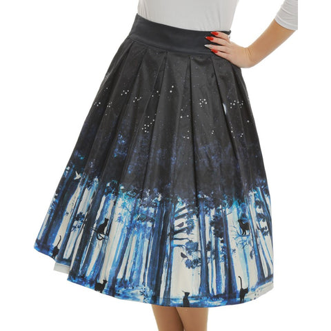 Lindy Bop 'Marnie' Midnight Cat Rockabilly Skirt Front Zoomed View