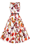 Lady Vintage White Butterfly Floral Hepburn Dress Front View