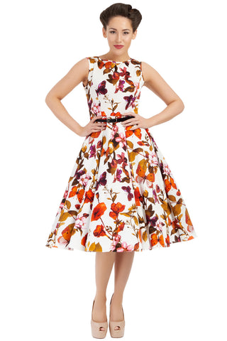 Lady Vintage White Butterfly Floral Hepburn Dress with Model Front View