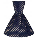 Lindy Bop Plus Size Audrey Dress - Navy Blue Back View