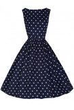 Lindy Bop Plus Size Audrey Dress - Navy Blue Front View