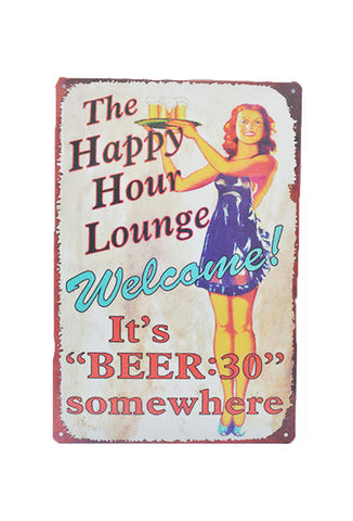 Retro Metal Sign - Happy Hour Lounge