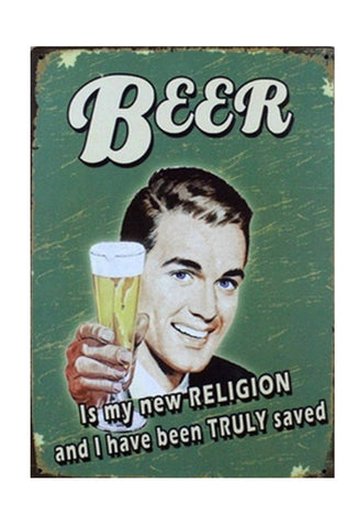 Retro Metal Sign - Beer is my new Religion