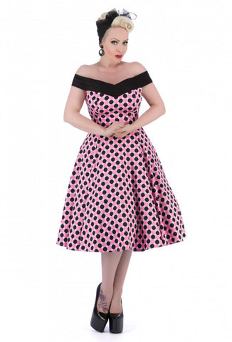 Hearts Roses Bettie Polka Dot PinUp Retro Rockabilly Dress Front View