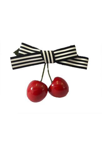 Cherry Hair Clip - Black Stripe