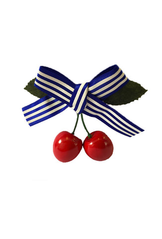Cherry Hair Clip - Blue Stripe