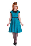 Hell Bunny Blue Brooke Dress with model