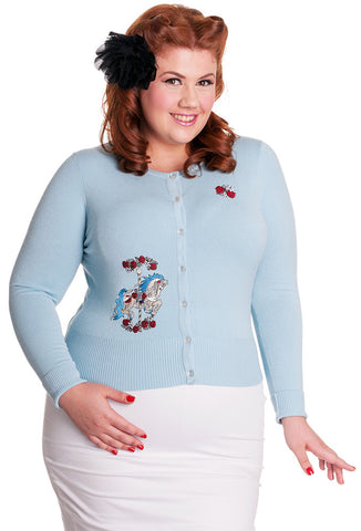Hell Bunny Carousel Cardigan Plus Size Model Front View