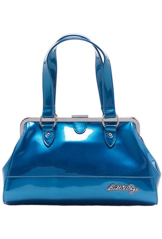Sourpuss Bettie Page Centerfold Bag - Teal Blue Front View