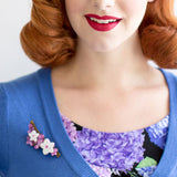 Miss Victory Violet wearing Erstwilder Cheery Cherry Blossom Brooch