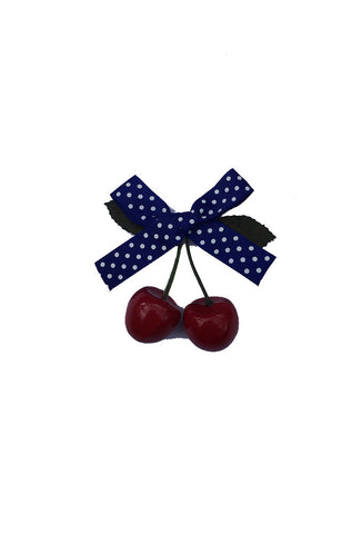 Cherry Polka Dot Hair Clip / Blue Ribbon