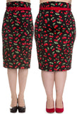 Hell Bunny Cherry Pop Pencil Skirt
