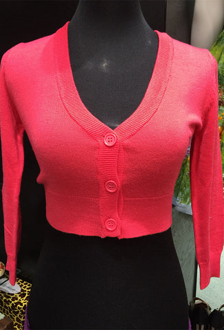 Mak 3/4 Cropped Cardigan - Coral Pink Front View on Mannequin