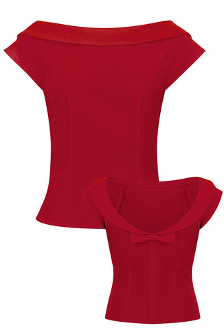 Collectif Cordelia Top - Red Front and Back View