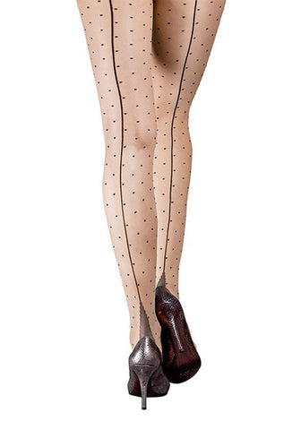Moulin Rouge Polka Dot Pantyhose with Back Seam
