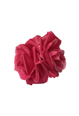 Double Rose Hair Flower - Pink