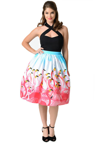 Unique Vintage Flamingo Skirt on Model