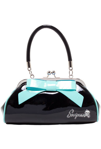 Sourpuss Floozy Retro Purse - Black/Aqua Bow Front View