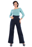 Collectif Franky Swing Trousers Navy Vintage Wide Boot Leg Pants on Blue TopModel