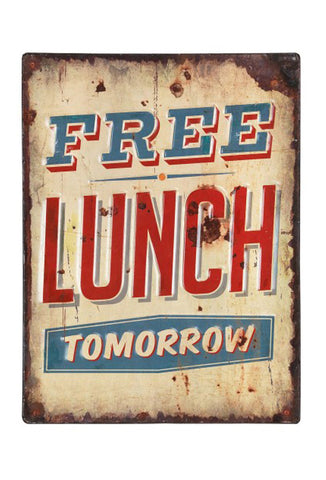 Retro Metal Sign - Free Lunch