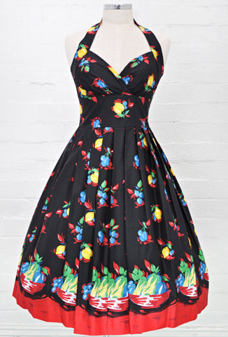 Retrospec'd Sophia Dress - Fruit Basket Print Front View
