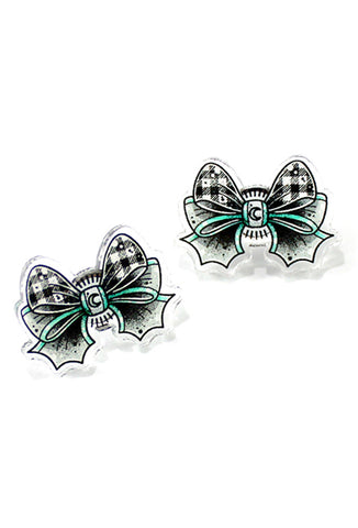 Creep Heart 'Gingham Bow' Ear Studs Front View