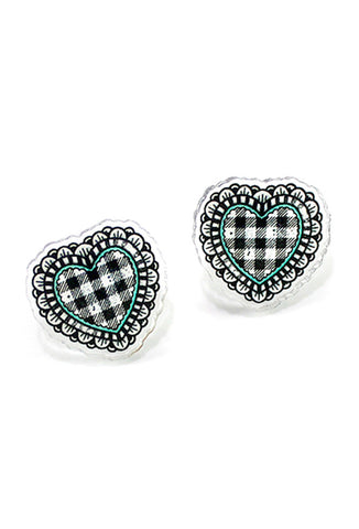 Creep Heart 'Gingham Heart' Ear Studs Front View