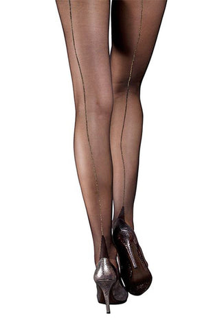 Moulin Rouge Black Pantyhose with Gold Back Seam