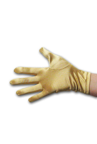 Satin Wrist Gloves - Gold